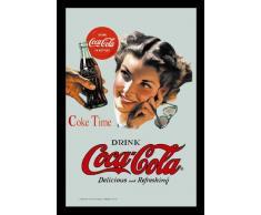 empireposter - Coca Cola - Coke Time - Größe (cm), ca. 20x30 - Bedruckter Spiegel, NEU - Beschreibung: - Bedruckter Wandspiegel mit schwarzem Kunststoffrahmen in Holzoptik -