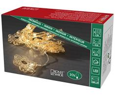 Konstsmide 3144-803 LED Dekolichterkette goldfarbene Metallblumen / für Innen (IP20) / VDE geprüft / Batteriebetrieben: 3xAA 1.5V (exkl.) / 10 warm weiße Dioden / transparentes Kabel