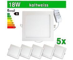 LEDVero 5x Ultraslim LED Panel SMD 2835, 18 W, eckig Deckenleuchte Lampe Einbau Leuchte Licht Strahler, kaltweiß SP219
