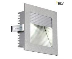 SLV LED Einbauleuchte Frame Curve | Wand- und Deckenleuchte für den Einbau | Eckig, Silbergrau, 4000K Neutralweiß | Stilvolle Wandleuchte, LED Treppen-Beleuchtung, Stufen-Licht, Treppenlicht