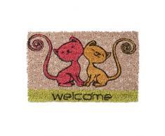 Relaxdays Fußmatte Kinder mit Bild Motiv Katze als Türvorleger klein für Kinderzimmer aus Kokos mit rutschfestem Boden aus Gummi Mini Fußabtretet und Türmatte HBT: 1,5 x 40 x 25 cm, Motiv: 2 Katzen