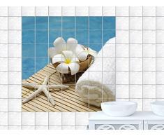 Graz Design 765175_15x20_60_V Fliesenaufkleber Fliesen Sticker Deko für Bad Küche Badezimmer Fliesenbild Seestern Handtuch und weiße Blüten Fliesengröße 15x20cm (Anzahl Fliesen = 4 breit und 3 hoch)
