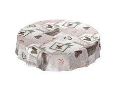 ANRO Wachstuchtischdecke Wachstuch abwaschbar Tischdecke Weihnachten Weihnachtsfest Rund 100cm, Schnittkante