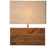 Kare Design Tischleuchte Rectangular Wood Nature, Lampe aus Massivholz, Nachttischlampe, Schreibtischlampe, Braun (H/B/T) 43x74x42cm