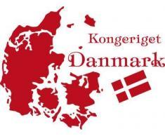 Graz Design 630217_57_031 Wandtattoo Deko Bür Wohnzimmer Aufkleber Landkarte Welt Dänemark Danmark Flagge Kopenhagen 76x57cm Rot