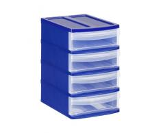 Rotho Schubladenbox Systemix Tower aus Kunststoff, Ablagebox Grösse XS, 19.6x14x23.3 cm, transparent/blaues Ablagesystem, DIN A6 Bürobox für Schreibtisch, Büro, uvm., Hergestellt in der Schweiz, 1114706149