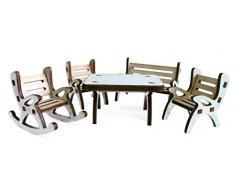 Petras Bastel News A-GMH04FS2 Tischgruppe, bestehend aus 1 x Tisch, 1 x Gartenbank, 1 x Schaukelstuhl und 2 Stühle aus Holz, 5-teilig