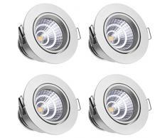 Sensati Kleine exklusive Design LED Einbauleuchte Downlight Spot Set zu 4 Stück, schwenkbar, dimmbar 1088 lm, inklusive Treiber, Gehäusefarbe silber, warmweiß T105 4 WW S