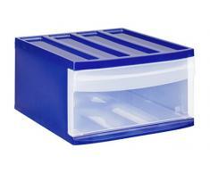 Rotho Schubladenbox Systemix aus Kunststoff (PP), Ablagefach Grösse L, 39.5x34x20.3 cm, blau/transparentes Ablagesystem, Ablagebox für Schreibtisch, Büro - Hergestellt in der Schweiz, 11420LG096