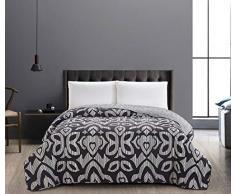 DecoKing Tagesdecke 220 x 240 cm schwarz weiß Bettüberwurf zweiseitig pflegeleicht Black White