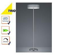 Trio Leuchten 471912411 Lugano A+, LED Stehleuchte, nickel, 24 watts, Integriert, Stoffschirm Grau, 40 x 40 x 150 cm