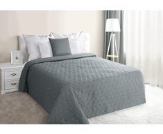 Eurofirany Tagesdecke, Steppdecke Größe: 220 cm x 240 cm, Bettüberwurf Muster Mervin, einfarbig, grau, geometrische Steppung, Kunstfaser