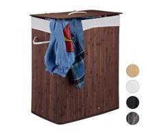 Relaxdays Wäschekorb Bambus mit Deckel, rechteckiger Wäschesammler, 2 Fächer, 95 l Volumen, faltbare Wäschebox, braun