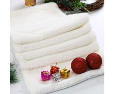 Aneco Weihnachts-Tischläufer Winter Schnee Weiß Tischläufer Kunstfell Tischläufer für Weihnachten Urlaub Tischdeko 72 x 15 Inches