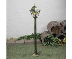Rustikale Außen Wegleuchte mit Glas im Tiffany Stil antik gold 1,03m hoch E27 230V Stehleuchte Außenleuchte Außenlampe Weg Garten Wegeleuchte Lampen