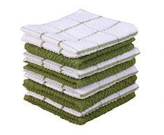 Amour Infini Frottier Geschirrtücher im 8er-Set (30x30 cm) grün, 100% Baumwolle, hochabsorbierend, waschmaschinenfest (Grün)