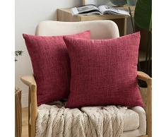 MIULEE Dekorative Kissenbezüge Leinen Jute, quadratisch, massives Bauernhaus Modern, prägnanter Überwurf Kissenbezug für Sofa Auto 18x18 burgunderfarben