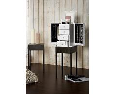 Limal Schmuckschrank Holz weiß 30 x 25 x 35 cm   Spiegel   Ausklappbar