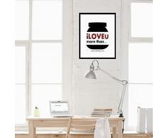 Walplus 29x36.25 cm Wandaufkleber Rahmen Nutella Spruch Abnehmbare Selbstklebend Wandbild Kunst Aufkleber Home Dekoration Wohnzimmer Schlafzimmer Büro Tapete Kinderzimmer Geschenk Schwarz Weiß