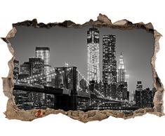 Pixxprint 3D_WD_1855_92x62 New York City, Skyline bei Nacht Wanddurchbruch 3D Wandtattoo, Vinyl, bunt, 92 x 62 x 0,02 cm