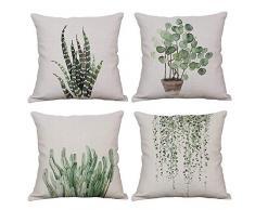 YeeJu quadratisch grün Pflanze Baumwolle Leinen Überwurf Kissen Fall dekorative Kissenhülle Sofa Home Kopfkissen, Plant Set of 4, 18 * 18 inch