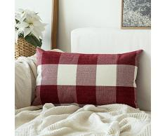 MIULEEYCZ 2 Stück, Samt Weiches Solide dekorativen Überwurf Kissenbezüge Set, quadratisch Kissen Fall Sofa Schlafzimmer Auto Single Piece, 12x20 C-Plaids red+White