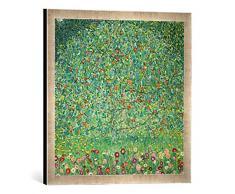 Gerahmtes Bild von Gustav Klimt Apfelbaum I, Kunstdruck im hochwertigen handgefertigten Bilder-Rahmen, 50x50 cm, Silber Raya