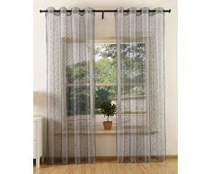 Netz Struktur Gardine mit Ösen einfarbig transparent Deko Vorhang Netzvorhang 2 Stück 245x140 cm Grau