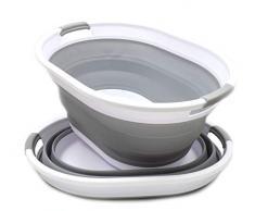 SAMMART Faltbarer Wäschekorb aus Kunststoff - Ovale Wanne/Korb - Faltbarer Aufbewahrungsbehälter/Organizer - Tragbarer Waschtrog - Platzsparender Wäschekorb (Grau, 2)