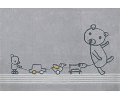 Art for Kids Qualität Label Öko-Tex Standard 100 paintclub Kinder Teppich, 100 Prozent Polypropylen, grau, 135 x 190 cm