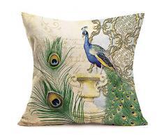 Asminifor Kissenbezug, niedliche Katzen-Tiere, mit Kopfhörern, Baumwollleinen, Dekorativer Überwurf, Kissenbezug für Couch 45,7 x 45,7 cm 18 x 18 inches Green Peacock