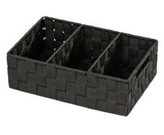 Wenko 20978100 Organizer Adria Schwarz - Aufbewahrungsbox, 3 Fächer mit Griff, Polypropylen, 32 x 10 x 21 cm, Schwarz