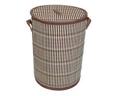 GMMH Original LN49 Bambus Wäschekorb Aufbewahrungsbox Wäschetruhe Wäschebox Wäschesammler Korb
