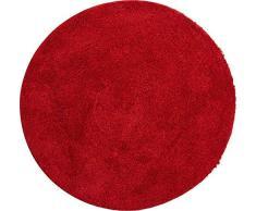Grund Badteppich 32 mm 100% Polyacryl, ultra soft, rutschfest, ÖKO-TEX-zertifiziert, 5 Jahre Garantie, LEX, Badematte 80 cm rund, rubin