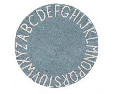 Lorena Canals Waschbarer Teppich Round ABC Natürliche Baumwolle -Vintage Blau- Beige- 150x150 cm