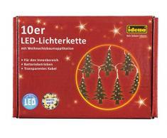Idena 30111 - LED Lichterkette mit 10 LED in Tannenbaum Form, mit 6 Stunden Timer Funktion, Batterie betrieben, für Partys, Weihnachten, Winter, Deko, als Stimmungslicht, ca. 1,65 m