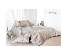 LINDER Bett Überwurf Kissenbezüge/Polyester Beige/Grau, Beige/Grau, 250 x 260 cm