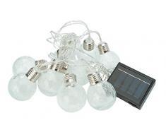 Cole&Bright L24308, Solar 10er - Eisball - Lichterkette. Dual-Power Technologie, Glas, Transparent, 380 cm