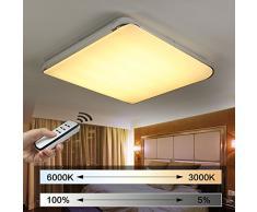 Natsen® Moderne LED Deckenlampe Wohnzimmer Lampe I505Y 50W voll dimmbar mit Fernbedienung (650mm*650mm / 50W)