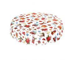 ANRO Wachstuchtischdecke Wachstuch Wachstischdecke Tischdecke Weihnachten Weihnachtskugeln Fest Feier Rund 100cm, Schnittkante