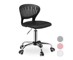 Relaxdays Kinderdrehstuhl, höhenverstellbar, Kunstleder-Sitzbezug, 120 kg belastbar, H x B x T: 81 x 51x 51 cm, schwarz