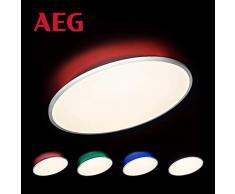 Katina LED Panel Deckenleuchte per Fernbedienung stufenlos dimmbar, RGB-Hintergrundbeleuchtung, Ø60cm, 42 Watt, 3600 Lumen, 2700 (warmweiß) bis 6500 (kaltweiß) Kelvin in weiß