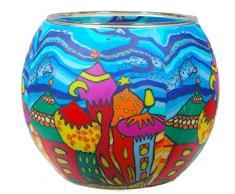 Himmlische Düfte Geschenkartikel CC248 Tischdekoration, Onion Domes Windlicht Glas 11 x 11 x 9 cm, bunt
