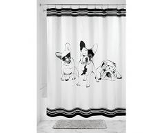 InterDesign French Bulldog Duschvorhang | Vorhang für Badewanne und Dusche| 183,0 cm x 183,0 cm großer Badewannenvorhang mit Hunde-Print | Polyester schwarz/weiß