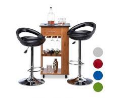 Relaxdays Barhocker 2er Set, höhenverstellbar, drehbar, bis 120 kg, mit Lehne, Barstuhl, HBT: 98,5 x 46 x 39 cm, schwarz