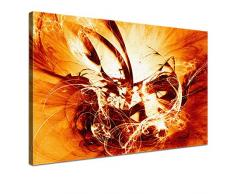 LANA KK - Leinwandbild Graf Fire Orange abstraktes Design auf Echtholz-Keilrahmen – Fotoleinwand-Kunstdruck in orange, einteilig & fertig gerahmt in 100x70cm