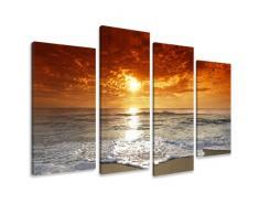 Visario Leinwandbilder 6038 Bilder auf Leinwand Sonne Meer, 130 x 80 cm