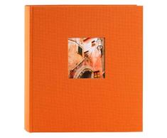 Goldbuch Fotoalbum mit Fensterausschnitt, Bella Vista, 30 x 31 cm, 60 weiße Seiten mit Pergamin-Trennblättern, Leinen, Orange, 27899