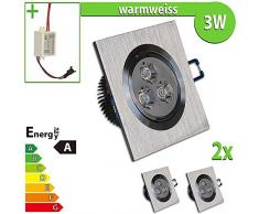 LEDVero 2x LED Einbaustrahler Einbauleuchte 3 W 2-er Set quadratisch, warmweiss EBL2