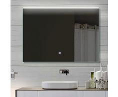 Badezimmerspiegel Wandspiegel Lichtspiegel LED TOUCH SCHALTER Lichtfarbton kalt/warm einstellbar 92 x 70 cm THL92X70